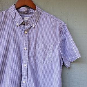 Gap Mens Lived In Button Front Shirt Large Striped